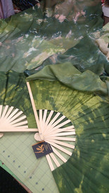 ORDERABLE: STANDARD  60INCH  Long Fan Pair in CAMOUFLAGE with PROSPERITY HAND