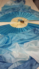 ORDERABLE:  Standard Long Pair of Fans -TONAL  BLUES  with POWDER BLUE HAND, Medium Stave, 36x61 inches/1.55 m