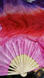 ORDERABLE: Standard Long Fan Pair in KISS ME and 12mm GERANIUM PINK SATIN  HAND