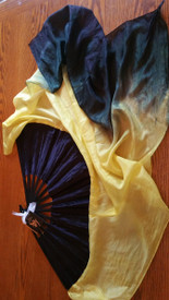 INSTOCK  READY2SHIP:  UNIQUE  BLACK STAVE OOAK   FLUTTER  SINGLE RT FAN  36 X 39INCHES   BLACK AND YELLOW w DOUBLE SATIN HAND  **SINGLE FAN**