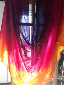 WINGS SILK SATIN INSTOCK:   ready FINAL SEWING:    TROPICAL SUNSET dyed  SILK ISIS WINGS 12mm 45 X 103