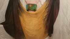 INSTOCK READY2SHIP: 6mm Midweight 45X85 yard Silk Belly Dance Veil, VERTICL  CHOCOLATE TO GOLD CENTER