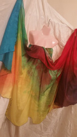 INSTOCK READY2SHIP: 5mm HALF CIRCLE  45x 108 3 yard Silk Belly Dance Veil, in LARGE TEXTURE BRIGHT RAINBOW