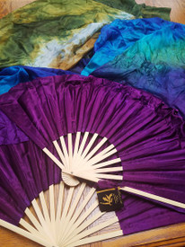 FAN LG 84INCH INSTOCK READY2SHIP:   LARGE XXLONG  FAN PAIR   45X84 in, PEACOCK with MAGENTA HAND,LARGE Stave