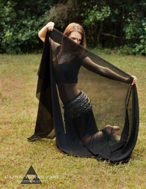 AUTUMN PREORDER VEIL OFFER:   5mm Ultralight 3 yard Silk Belly Dance Veil, in VERY BLACK