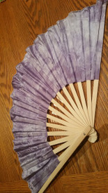 INSTOCK  READY2SHIP:  single  LEFT MEDIUM SHORTY  FAN!  36x16iches  in WISTERIA and PETAL PInK  HANDS