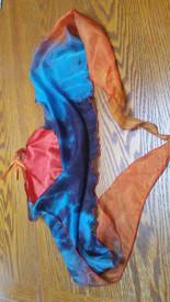TRI VOI MED INSTOCK READY2SHIP: MED PAIR 19inch-point --- 21long tail Triangular 5mm Silk Habotai VOI PAIR in BLACK EGYPTiaN  QUEEN