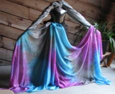 AUTUMN PREORDER VEIL OFFER:  5mm Ultralight 3 yard Silk Belly Dance Veil, in MERMAIDEN BLUE