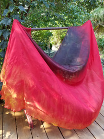 INSTOCK READY2SHIP: 6mm Midweight HALF CIRCLE 45X108 yard Silk Belly Dance Veil, NEW! TANGERINE FIRE