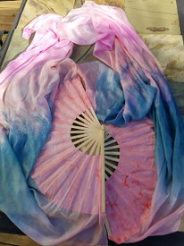 INSTOCK READY2SHIP:  Standard PAIR Long Fan 36x60 in DAWN SKY RAINBOW -  SALMON HAND, Sm/Med Stave