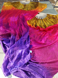 Instock Ready2Ship:  Standard Long Fan Pair in TROPICAL SUNSET + GOLD and 12mm GOLD SATIN  HAND