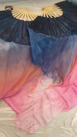 $99 Fan Offer:  Standard PAIR Long Fan 36x60 in DAWN SKY RAINBOW -  STORMY BLUE HAND, Sm/Med Stave