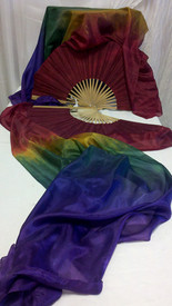$99 Fan Offer: Standard Long Pair of 5mm Silk Habotai fans in, CROWN JEWELS  with GARNET HAND, Small/Medium Stave