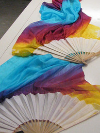 $99 Fan Offer:  STANDARD LONG FAN PAIR 5mm Silk Habotai  in WHITE ZIA with WHITE Silk Satin HAND
