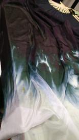 $99 Fan Offer:  Standard Long Fan Pair in GHOST FIRE with 12mm  BLACK SATIN  HAND