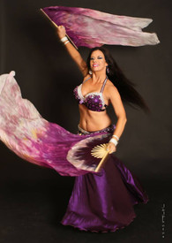 $99 FAN OFFER:   60inch  STANDARD LONG  FAN PAIR, new!! AMETHYST  KATYA w BICOLOR PURPLES HAND, Sm/Med Stave