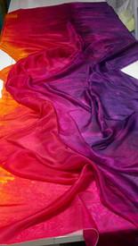 WINTER PREORDER VEIL OFFER:  5mm Ultralight 3 yard Silk Belly Dance Veil, in TROPICAL SUNSET