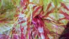 WINTER PREORDER VEIL OFFER:   5mm Ultralight 3 yard Silk Belly Dance Veil, in STRAWBERRY + CHARTREUSE SPIRAL