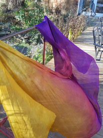 WINTER PREORDER VEIL OFFER:   5mm Ultralight 3 yard Silk Belly Dance Veil, in  NEW! VERTICAL SHADES OF EVENING