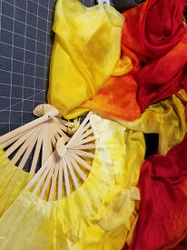 $99 Fan Offer:   Standard Long Pair of 5mm Silk Habotai fans in, NEW 'DAFFODIL FIRE' blended yellows HAND, Small/Medium Stave