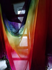 Instock Ready2Ship:  5mm XLONG Ultralight 3.25 yard Silk Belly Dance Veil, in CLASSIC RAINBOW