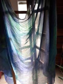 VEIL INSTOCK :  3 YARD  5mm Ultralight  Silk Belly Dance Veil, in ENCHANTED HEALING DREAMS