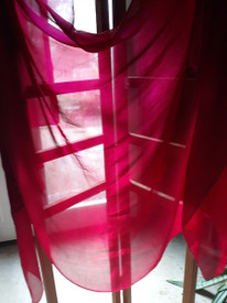 VEIL INSTOCK: 3 YARD  5mm Ultralight Silk Belly Dance Veil, in  FUCHSIA to ROSE RED one of a kind