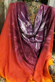 WINGS SILK INSTOCK:   ready FINAL SEWING:    WISTERIA TROPICAL SUNSET dyed  SILK ISIS WINGS 8mm 54x90
