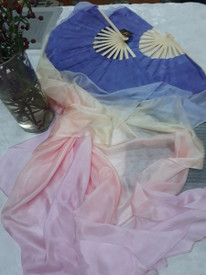 FANS PAIR INSTOCK MED 60IN READY2SHIP: STANDARD LONG PAIR OF 5MM SILK HABOTAI FANS IN GIRLY DREAMS WITH SOFT HYACINTH HAND 36X60 INCHES/1.52M.