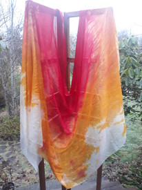 5MM 3YARD INSTOCK:   PASSION SERIES!!  5mm Ultralight 3 yard Silk Belly Dance Veil, in  SUN and FIRE