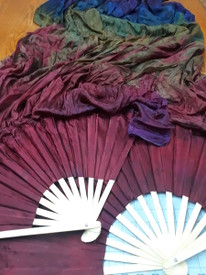 FAN PAIR wide! STANDARD LONG INSTOCK  in GOTHIC RAINBOW with DARK GOTHIC GARNET HAND