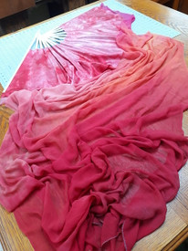 FAN XXXLG SINGLE:   1 Only   19.5INCH STAVE SILK CHIFFON LENGTH 45INCHX3YARD  in APRICOT ROSE