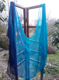 CHIFFON SILK  INSTOCK:   Rare  Silk Chiffon Ultralight 3yard Silk Belly Dance Veil, in  DELPHINIUM to PURPLE