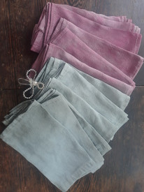 TEAL GREY or ROSE GREY  Silk SHANTUNG  7inch x 30inch  for WRAP Flat hems  XSMALL