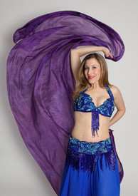 5mm Ultralight 3 yard Silk Belly Dance Veil, in MAJESTIC PURPLE