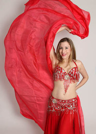 5mm Ultralight 3 yard Silk Belly Dance Veil, in POPPY RED