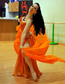 5mm Ultralight 3 yard Silk Belly Dance Veil, in MANDARIN
