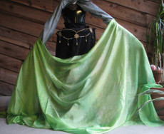 5mm Ultralight 3 yard Silk Belly Dance Veil, in GRASSY TICKLES