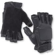 Tactical Black Padded Fingerless Gloves
