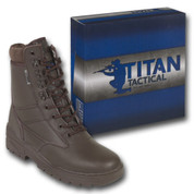 Titan Tactical Combat Patrol Boot Full Leather Brown