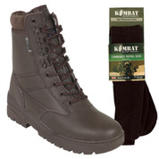Titan Tactical Combat Patrol Boot Full Leather Brown With Socks