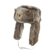 Military Russian Cossack Hat with Badge Grey / White
