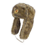 Military Russian Cossack Hat with Badge Natural Tan