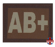 AB + Plus Blood Group Patch Velcro Desert Tan