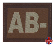 AB - Minus Blood Group Patch Velcro Desert Tan
