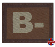 B - Minus Blood Group Patch Velcro Desert Tan