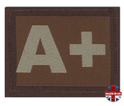A + Plus Blood Group Patch Velcro Desert Tan