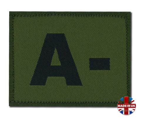 A - Minus Olive Green DPM Blood Group Patch