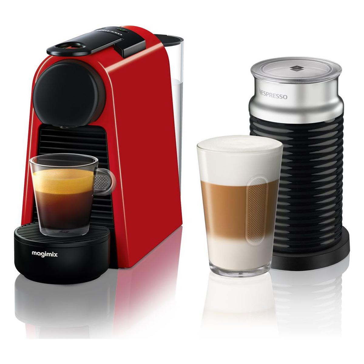 Nespresso Essenza Mini + Aeroccino3 Coffee Machine by Magimix in Red