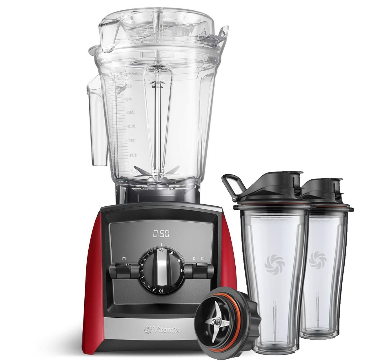 Vitamix Ascent Series A2500i Blender in Red with 600ml Blending Cup Starter Kit